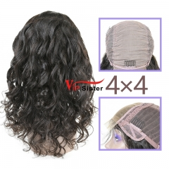 Natural #1b Brazilian Virgin Human Hair 4x4 closure wig loose wave