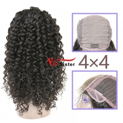 Natural #1b Brazilian Virgin Human Hair 4x4 closure wig deep curly