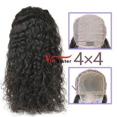 Natural #1b Brazilian Virgin Human Hair 4x4 closure wig indian wavy