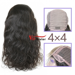 Natural #1b Brazilian Virgin Human Hair 4x4 closure wig body wave