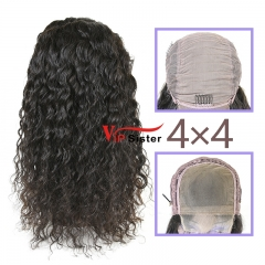 Natural #1b Brazilian Virgin Human Hair 4x4 closure wig indian curly