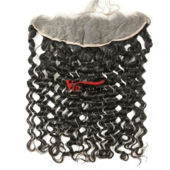 #1b Brazilian Raw Human Hair 13X4 Lace frontal Italy Curly