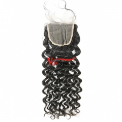 #1b Brazilian Raw Human Hair 4x4 Lace Closure Italy Curly